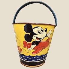 A lovely English Happynak Disney tinplate Mickey Mouse seaside bucket, 1930/40s