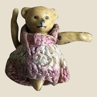 A small Hertwig all-bisque jointed teddy bear, circa 1910 (no legs)