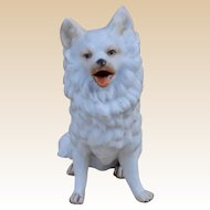 A German bisque model of a seated Spitz or Samoyed dog, probably Gebruder Heubach, circa 1900
