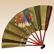 A pretty hand-painted Japanese doll's fan 1930s,
