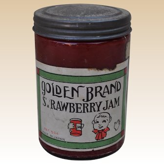 Fabulous vintage trick Strawberry Jam jar with pop-out snake, 1930s