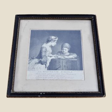 A 18th century printed or engraving of La maitresse d' Cole (School Mistress) date 1740