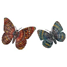 Two Marklin lithographed tinplate butterfly spinning tops 1930s,