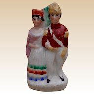 A miniature Staffordshire figure of Queen Victoria and Prince Albert, mid 19th century