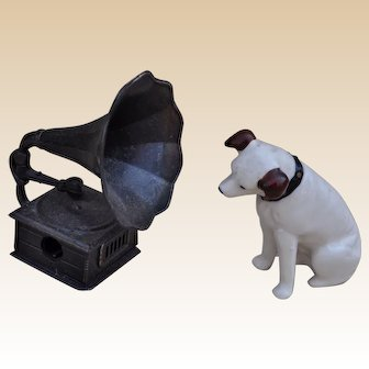 A Nipper the dog for HMV or RCA Corps china ornament, 1950s