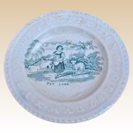 A lovely mid 19th century nursery plate featuring pet lamb,