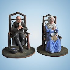 An interesting early German Sonnonberg composition and wood elderly couple, circa 1860
