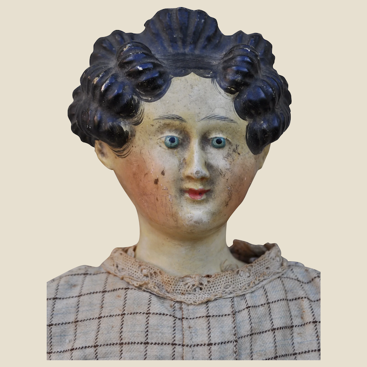 A Wonderful Early Papier Mache Doll With Apollo Knot Hair Style Daniel Agnew Antique Teddy Bears Toys And Dolls Ruby Lane