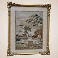 A beautiful 19th century tapestry of pastoral scene, framed and glazed