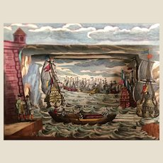 Very rare mid 18th century Martin Engelbrecht peep show of maritime scene,