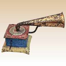 Rare German Penny Toy dolls' house horn gramophone,