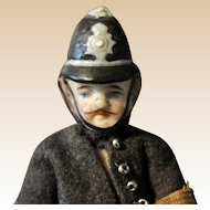 Rare German all-bisque English policeman dolls' house doll with moustache,