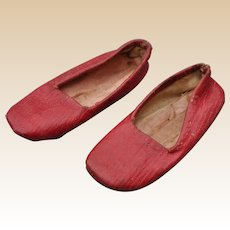 Rare pair of 19th century red soft leather doll's slippers,