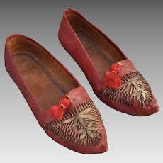 A beautiful pair of Ottoman (Turkish) 19th century red leather slippers,