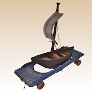 Very rare early German wooden rocking pull-toy sailing boat 1840s,