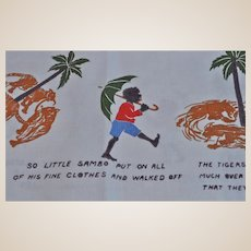 A very rare nursery table cloth featuring The Story of Little Black Sambo 1930s