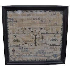 Antique English sampler by Mary Elliott 1851