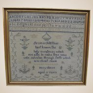 Antique English sampler by Mary Shiers 1861,
