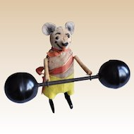 Rare clockwork Schuco mouse weightlifter in excellent condition