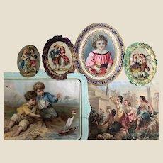 Six 19th century scraps of children,