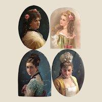 Four 19th century scraps portraits of ladies,