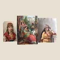 Three 19th century scrap portraits of Levantian ladies,