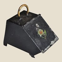 An antique dolls' house tinplate coal scuttle,