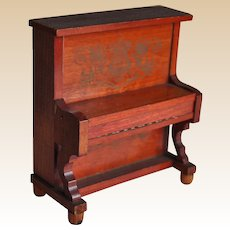 German red stained antique dolls' house upright piano,