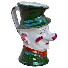A rare British spongeware Ally Sloper character jug, circa 1900