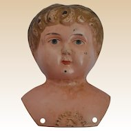 A very interesting Minerva painted tinplate doll's shoulder head, circa 1910