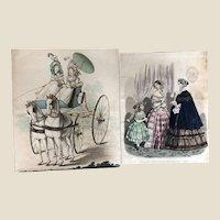 Two 19th century fashion plates,