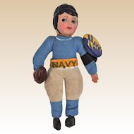Unusual Japanese celluloid and cloth US Navy American Footballer 1940s,