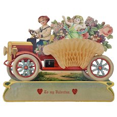 Beautiful antique Valentine card automobile, circa 1910