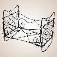 Rare 19th century wire dolls' house bed,