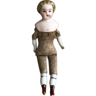A lovely 19th century bisque shoulder head dolls' house doll,
