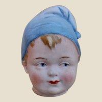 Rare German bisque character boy doll's head money bank,
