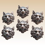 Six amazing antique silver cat buttons with jewelled eyes,