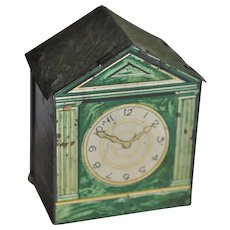 Rare tinplate dolls' house marble mantel clock sweet sample tin, 1930s