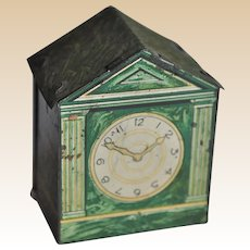 Rare tinplate dolls' house marble mantel clock sweet sample tin, 1930s