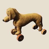 A German felt dachshund on wheels, 1920s