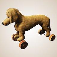 A German felt dachshund on wheels, 1920s