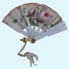 A pretty antique hand painted doll's fan,