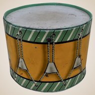 A French tinplate biscuit tin in the form of a drum, 1930s