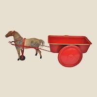 A 1920s German horse-drawn tinplate cart sand toy,