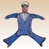 British vintage folk art jumping jack sailor, mid 20th century