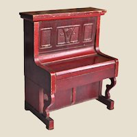 Antique red stained German dolls' house upright piano,