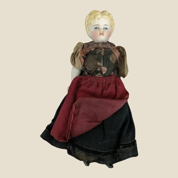 A small German bisque shoulder head doll,