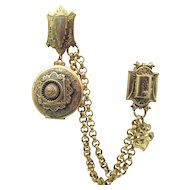 Victorian Revival Double Clip 9K Chain Swag with Locket