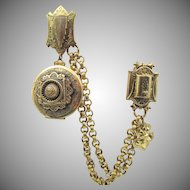 Victorian Revival Double Clip 9K GF Chain Swag with Locket