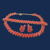 Vintage Crown Trifari Coral Lucite Parure Set